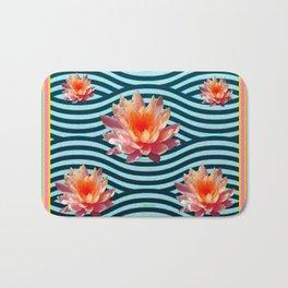 Peach Color Water Lily Water Garden Bath Mat
