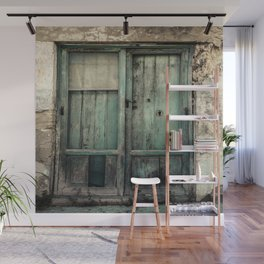 Old Green Door Wall Mural