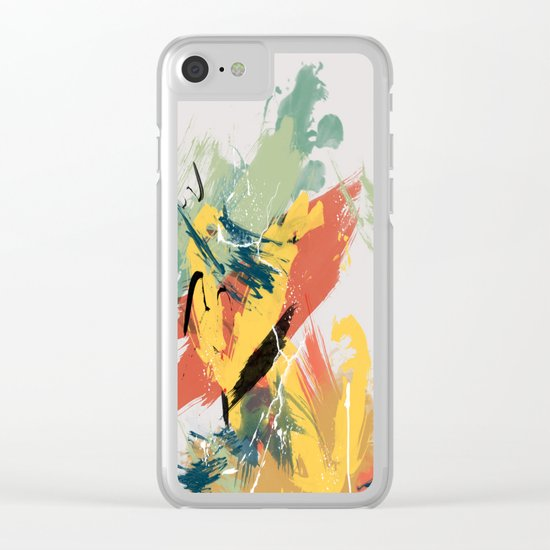 Intuitive Conversations, Abstract Art, Brush Strokes, Mid Century Modern Colors, Orange, Gold, Teal Clear iPhone Case