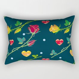 Seamless pattern with roses and hearts on a dark background Rectangular Pillow