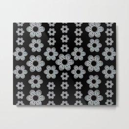 Black and Silver Floral Mandala Motif Textile Metal Print