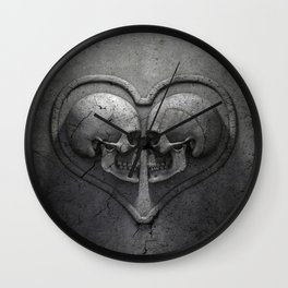 Gothic Skull Heart Wall Clock