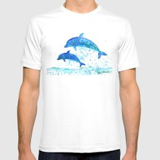 Dolphins, Blue dolphins, watercolor MEDIUM Mens Fitted Tee White
