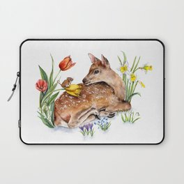 Spring Deer and Harvest Mouse Laptop Sleeve