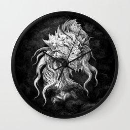Dark Side Japanese Dragon portrait on black background | Graphit Wall Clock