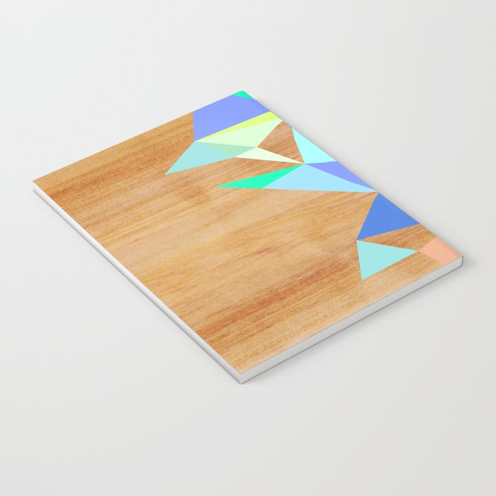 Wooden Geo Aqua Notebook