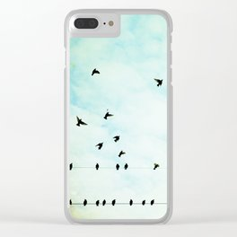 Birds Flying in Sky, Birds on Wires, Aqua Sky Nursery Art, Turquoise Pastel Nature Photo Clear iPhone Case