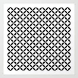Small White and Black Interlocking Geometric Circles Art Print