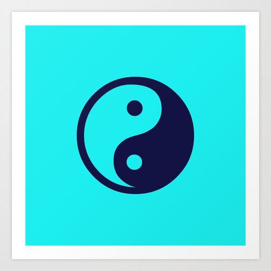 Harmony Yin Yang Navy Turquoise Art Print