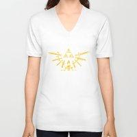triforce V-neck T-shirts featuring Triforce Z by le.duc