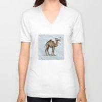 salt water V-neck T-shirts featuring CAMEL - SALT WATER #2 by Agustin Flowalistik