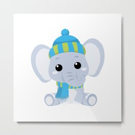 Cute Baby Elephant in Winter with hat Metal Print