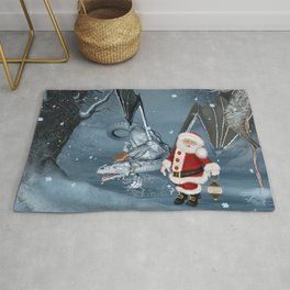 Santa Claus with ice dragon in a winter landscape Rug