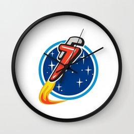 Pipe Wrench Rocket Blasting Off Orbit Space Circle Retro Wall Clock