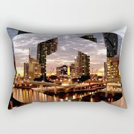 Beautiful Geometric Brisbane River Print Rectangular Pillow