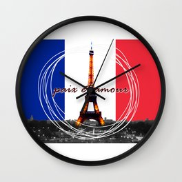 Peace and Love in France Wall Clock