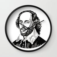 shakespeare Wall Clocks featuring Shakespeare by OnaVonVerdoux