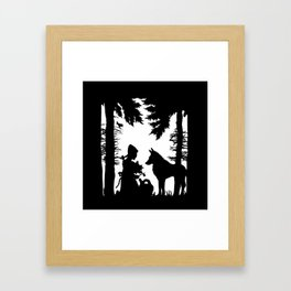 Black Silhouette Red Riding Hood Wolf in Woods Trees Framed Art Print