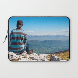 Rear view men looking at Alps mountain view after hiking Laptop Sleeve