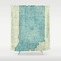 indiana Shower Curtains featuring Indiana State Map Blue Vintage by City Art Posters