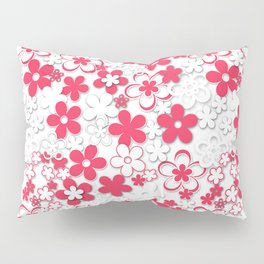 Red and white paper flowers 2 Pillow Sham