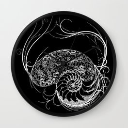Black And White Shell Design Wall Clock