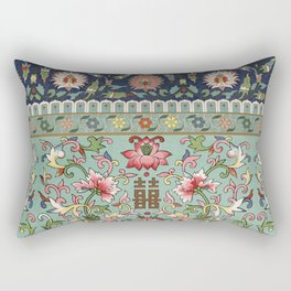 Asian Floral Pattern in Turquoise Blue Antique Illustration Rectangular Pillow