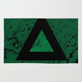 Spilled ink suminagashi malachite green marble stone watercolor marbling triangle minimalism Rug
