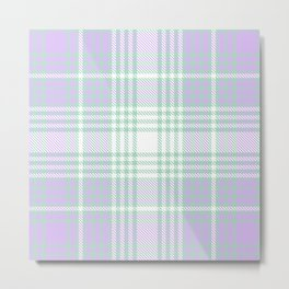 Lavender Ombre Plaid Tartan Textured Pattern Metal Print