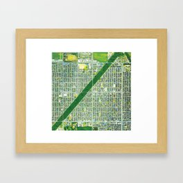 Aerial of Tree Row in Sapporo, Japan Framed Art Print