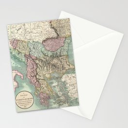 Vintage Map of The Balkans and Turkey (1801) Stationery Cards