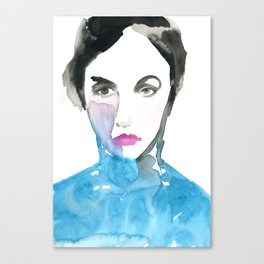Pink Lipstick: Watercolor painting of woman in turquoise Canvas Print