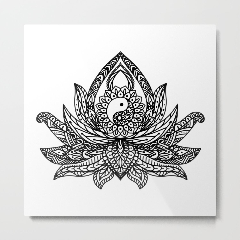 Yin Yang Lotus Black Metal Print By Halycyoniandesign Society6