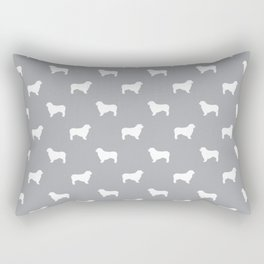 Australian Shepherd silhouette grey and white dog breed pattern simple minimal dog gifts Rectangular Pillow