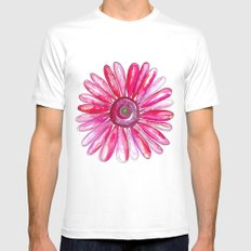 Pink Gerber Daisy Mens Fitted Tee MEDIUM White