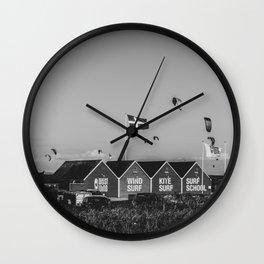 West Wind Kite Surf School Denmark Hvide Sande bw Wall Clock
