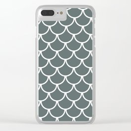 Steel Grey Fish Scales Pattern Clear iPhone Case
