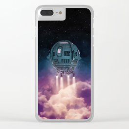 Out of the atmosphere / 3D render of spaceship rising above clouds Clear iPhone Case