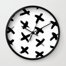 X Marks the Spot Black Ink on Paper Wall Clock