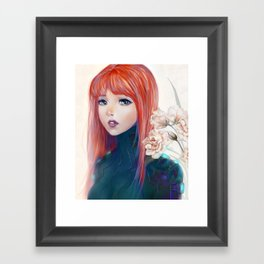 Captain Goldfish - Anime sci-fi girl with red hair portrait Framed Art Print