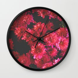 Red Mums Wall Clock