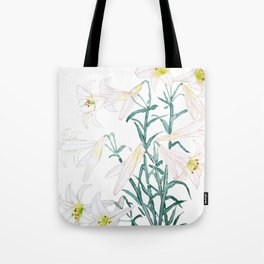 white lily branch watercolor Tote Bag
