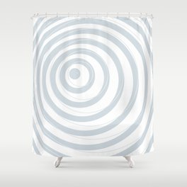 orbits - circle pattern in ice gray and white Shower Curtain