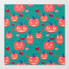 Cat Pumpkins in orange and teal Canvas Print