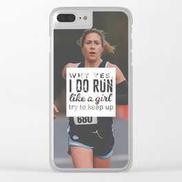 Run Like A Girl Lady Boss Runner Queen Princess Clear iPhone Case