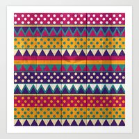 mexican Art Prints featuring Mexican Pattern by Eleaxart