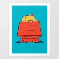 snoopy Art Prints featuring Snoopy Time! by penguinline