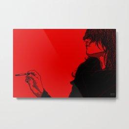 Smoking (Black on Red Variant) Metal Print