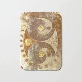 Lunar Phases Celestial Map in Gold Bath Mat