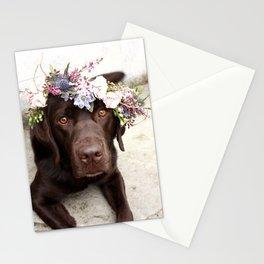 Flower Crown Beautiful Dog Portrait Stationery Cards